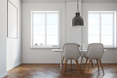 White dining room, wooden floor, poster side view. White dining room interior with a wooden floor, a white table with chairs and a framed vertical poster above Royalty Free Stock Images