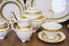 White dining tableware tea  set Royalty Free Stock Image