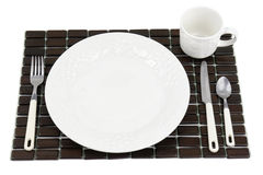 White dinner plate setting Stock Photography