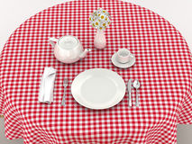 White dinnerware for serving breakfast. On the red tablecloth. 3d illustration Royalty Free Stock Photo