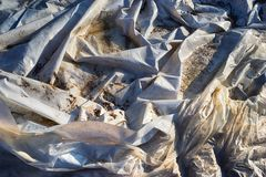 White and dirty tarpaulin. In Germany Royalty Free Stock Photography