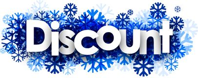 Discount banner with blue snowflakes. Royalty Free Stock Image