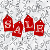 White discount labels and red labels with sale text Stock Images