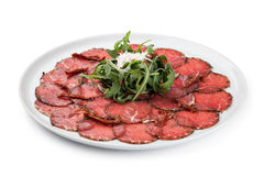 White dish with carpaccio of beef Stock Image