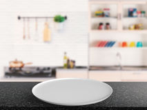 White dish. 3d rendering empty dish with kitchen background Stock Image