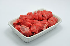 A white Dish of diced beef  Stock Images