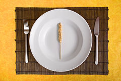 White dish with grain  on bamboo board Royalty Free Stock Photo