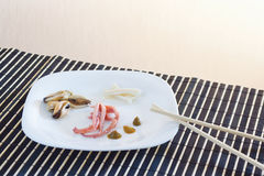 White dish with octopus, mussels and squid Royalty Free Stock Photos