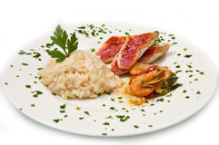 White dish with rice , red mullet fillets and seafood Royalty Free Stock Photo