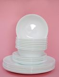 White dishes stock images