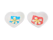 White  dishes heart shape Royalty Free Stock Photography