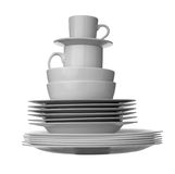 White dishes kitchen Royalty Free Stock Photos