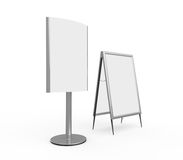 White Display Advertising Stand Stock Photo