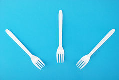 White disposable dishes, fork Stock Images