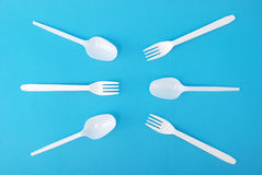 White disposable dishes, fork and spoon Royalty Free Stock Image
