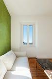 White divan, interior. Home interior, view of the living room, white divan, detail stock photo