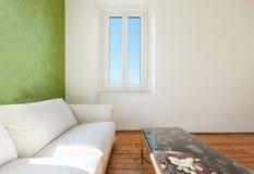White divan, interior. Home interior, view of the living room, white divan, detail stock image