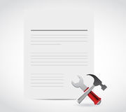 White document and tools illustration design Royalty Free Stock Photography