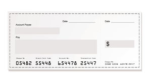 White dollar cheque Royalty Free Stock Images