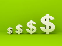 White dollar currency symbols on green. Background. business concept 3d render illustration Royalty Free Stock Photo