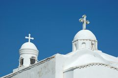 White domes of traditional greek orthodox church Royalty Free Stock Photos