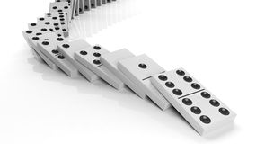 White domino tiles falling in a row Stock Photo