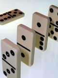 White dominos. Close up of dominos in a row Royalty Free Stock Photos