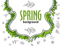White doodle banner with text and floral composition from above Royalty Free Stock Photo