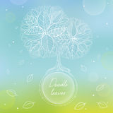 White doodle circle frame with hand drawing tree and leaves. On blurred background. Hand-drawn vector illustration. Card with eco tree and falling leaves Royalty Free Stock Photos