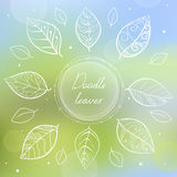 White doodle circle frame with hand painted leaves. On blurred background. Leaves in doodle style. Hand-drawn vector illustration on blurred background in Stock Photography