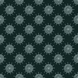 White doodle flower on black background. Simple seamless pattern. Hand drawn wallpaper. Royalty Free Stock Image