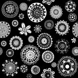 White doodle flowers over black background seamless pattern Royalty Free Stock Image
