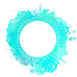 White doodle frame on turquoise paint splash Stock Photos