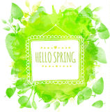 White doodle square frame with text hello spring. Green watercolor splash background with printed leaves. Artistic vector design f Stock Photography