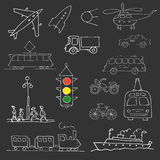 White doodle  transport set Royalty Free Stock Images