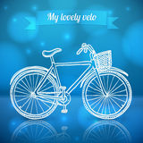 White doodle vector bike on blue background Royalty Free Stock Image