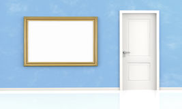 White door and blank frame on blue wall Royalty Free Stock Photography