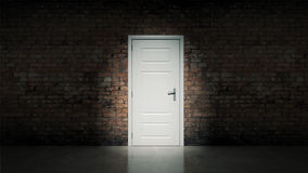 White door with brick wall Royalty Free Stock Image
