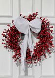 White door with Christmas decorations Stock Photos