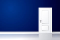 White door closed on a blue wall with reflective floor. Vector illustration Stock Photography