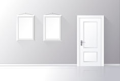White door closed on a gray wall with frames and reflective floor. Vector illustration Royalty Free Stock Photos