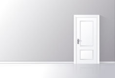 White door closed on a gray wall with reflective floor. Vector illustration Stock Photo