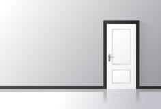 White door closed on a gray wall with reflective floor. Vector illustration Stock Images