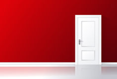 White door closed on a red wall with reflective floor. Vector illustration Royalty Free Stock Image