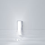 White door. Doorway in flooded white room Royalty Free Stock Image