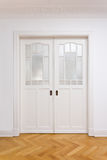 White Door Double Sliding Parquet Royalty Free Stock Photography