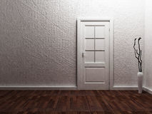 White  door in the empty room Royalty Free Stock Image