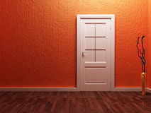 White  door in the empty room Stock Photo