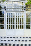 white Door glass and green leaf Royalty Free Stock Image