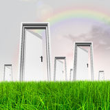 White door in grass with sky background Royalty Free Stock Image